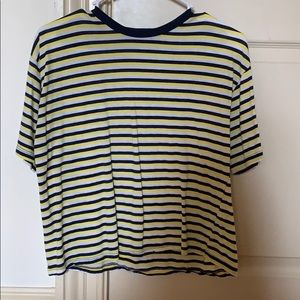 Brandy Melville White, Yellow, Navy Striped TShirt